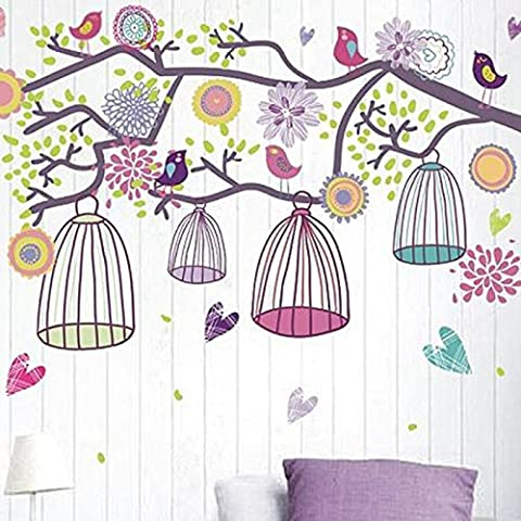 HuaYang - Vinilo adhesivo de papel para pared, extraíble, diseño de árbol, pájaros y jaulas