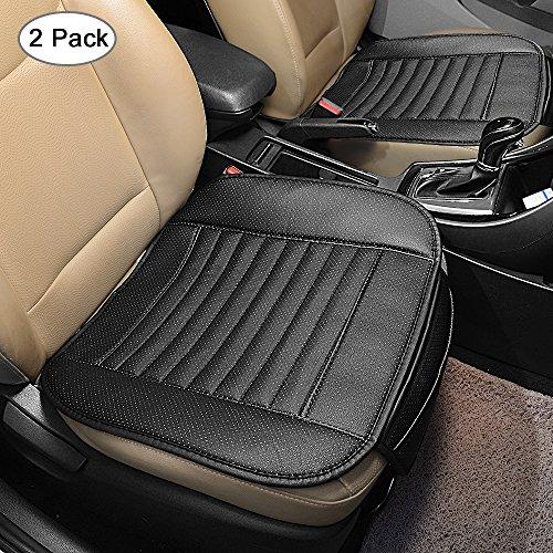 ASIV 2 Stück Auto Sitzkissenbezug Matte atmungsaktiv Schutz Pad für Auto, Home, Bürostuhl (schwarz) + 1 Paar komfortable Sicherheitsgurt Schulter deckt Pad (Zwei Flecken Schwarze)