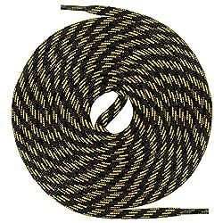 Mount Swiss runde Schnürsenkel für Wanderschuhe, Trekkingschuhe und Arbeitsschuhe - extra reißfest - ø 5 mm Farbe Schwarz-Gelb-m3 Länge 80cm