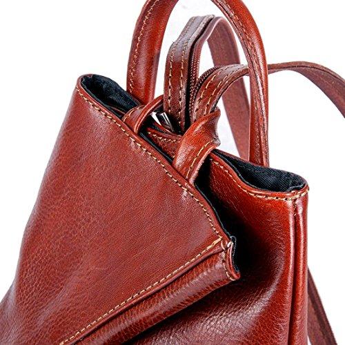 MICHELANGELO handgefertigt italien - Rucksack, Tascheaus, Single-Schulter, Tulipano, echtem Leder 27X16 H38 cm Braun