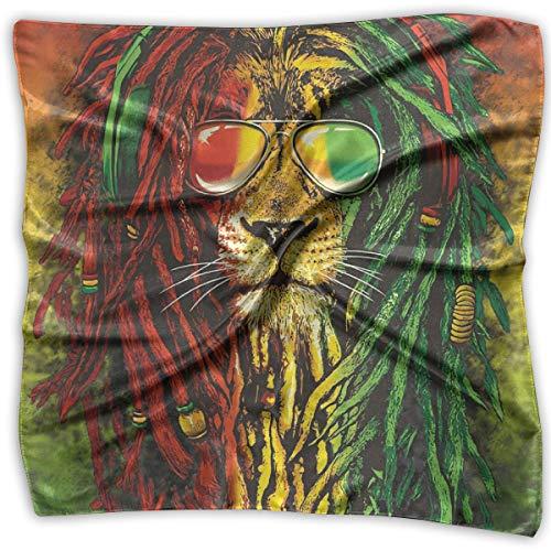 TGSCBN Sonnenbrille Rasta Lion Square Scarf Damen Halstuch Headwear Seidenschals 100CM Large