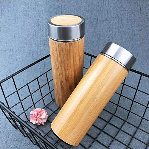 Baihuiliangpin Bambus Thermos Tasse Thermos Flasche 304 Edelstahl Business Wasserbecher Wasserbecher Thermoskanne 480Ml Große Logfarbe