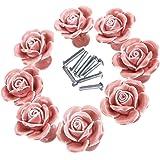 Maniglia manopole, eleganti rose rosa tira fiore ceramica manopole manopole armadio cassetto maniglioni + vite maniglia manig