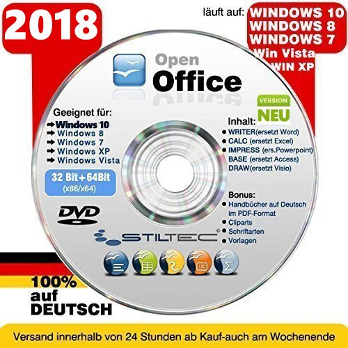 Open Office Paket 2018✔ PREMIUM für Windows 10 ® Windows 8 WIN 7 Vista XP ✔ Schreibprogram​me✔ ORIGINAL von STILTEC © NEU Windows Vista-textverarbeitung