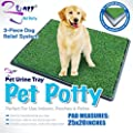 PET POTTY TRAY Indoor Dog Cat Grass Pad Mat For Toilet Pee Wee Loo Urine Training Large by A2B Shopping Ltd