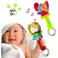 HUADADA 2 Pack Rattles Shaker Soft Baby Instruments Sensory Toy Cute Stuffed Animal Toy Infant Developmental Hand Grip for 3 6 9 12 Months