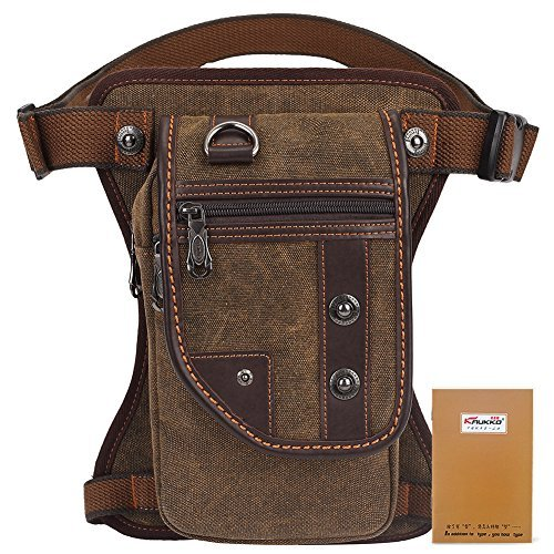 KAUKKO Herren Canvas Hüfttasche Reisen Sport Outdoor Beinbeutel Multi Pack Leg Bag Braun