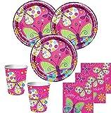 Kids Party World 32 Teile Schmetterling in Pink Geburtstags Deko Set für 8 Personen