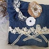 Portafedi cuscino Fedi Cuscinetto porta fedi in stile Country Rustico, interamente realizzato a mano in Denim