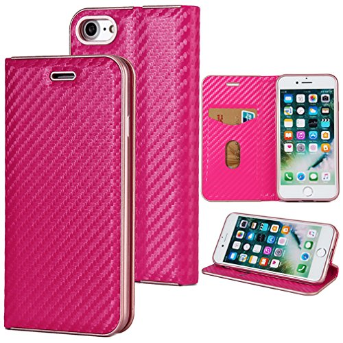 Fischschuppenmuster Neu Hochwertige Kohlefaser automatische Saug-Schnalle Hülle Case ,TPU + Leder Cover Full Body Schutz für apple iphone 6plus Rose Gold Rose