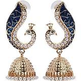 Pu Ran, orecchini da donna, alla moda, con pendenti a forma di foglia intagliata e perline. Orecchini con gancetto, stile boh