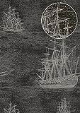 Grafik Tapete Atlas SIG-584-2 Vliestapete glatt im maritimen Design und metallischen Akzenten anthrazit blau-grau silber gold 5,33 m2