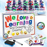 214 Pc Magnetic Letter Board - Alphabet Letter Magnet Toys with Whiteboard & Stand for Kids - Small & Big Alphabet Magnets Set with 6 Glow-in-the-Dark Emoji for Board & A-Z Cards for Learning Letters