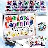 Tableau De Lettres Magnétique 224 Pièces - Lettre Magnetique Alphabet Jouets pour Enfants -Aimants Alphabet avec 6 Emoji Brillants dans L'obscurité pour Tableaux Et Cartes A-Z pour Lettres Educatives