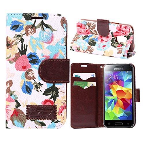 [A4E] Handyhülle passend für Apple iPhone 6 Plus (6 Plus;6S Plus) Kunstleder Tasche, Flip Cover, seitlicher Magnetverschluss, Standfuß, Kreditkartenfächer, mit schönem floralen Blumenmuster (schwarz,  Rosen - weiß