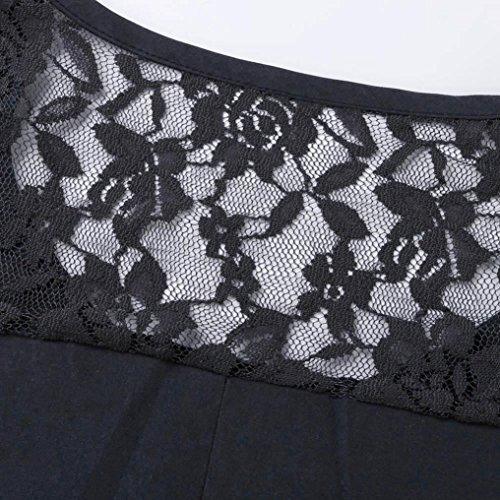 AIMEE7 Femmes Casual Bouton à Manches Longues En Dentelle Patchwork Shirt Top Blouse Gris