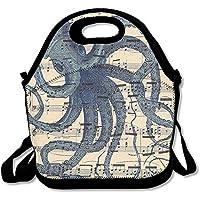 Preisvergleich für Octopus Print Vintage Noten Isolierte Lunchtasche Picknick Lunch Tote für Arbeit, Picknick, Reisen