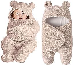 Saingace Newborn Baby Swaddle Wrap Cute Cotton Sleeping Blanket Wrap Swaddle with Hood for Baby Boys Girls