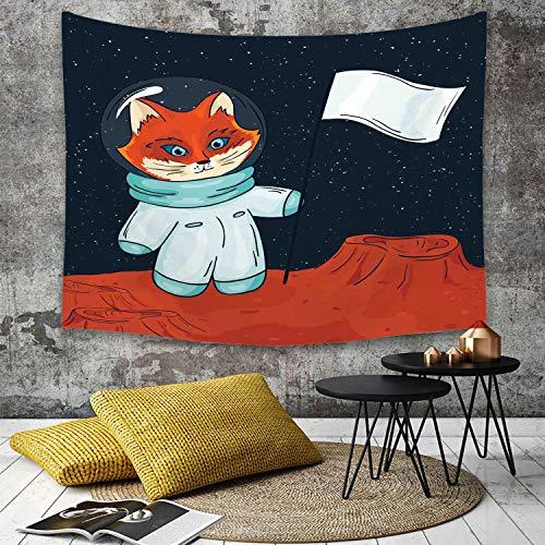 Tapestry, Wall Hanging, Entdecken Sie, Fox Cosmonaut Raising eine Flagge auf einem fremden Planeten Weltraum un,wall hanging wall decor, Bed Sheet, Comforter Picnic Beach Sheet home décor 180 x 230 cm