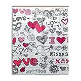 Rideau de douche étanche et résistant aux moisissures Mouldproof cœurs Sketchy Doodle Vector Rideau de bain en durable avec crochets pour accessoires de salle de bain 152,4 x 182,9 cm (150 cm x 180 cm)