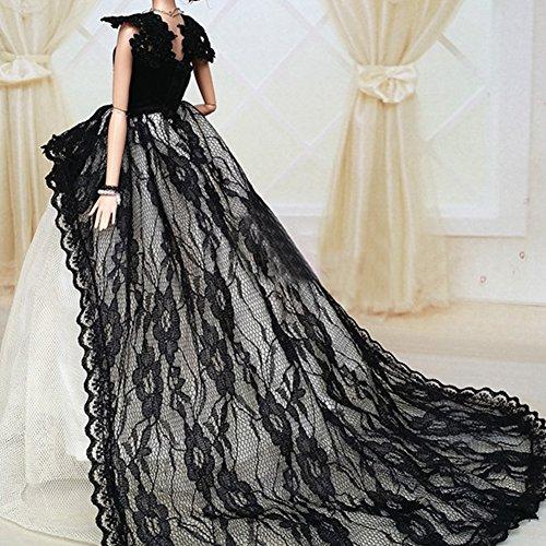 Yacool® 1 PCS haute qualité Mode de mariage Party robe Bling Robes et Vêtements pour Barbie Doll- Rouge (black-1)