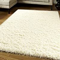 Think-Louder Luxury Shaggy Rug Runner Non Shed Carpet Thick & Soft in With Non Slip Gripper Underlay - CREAM IVORY66x110 CM