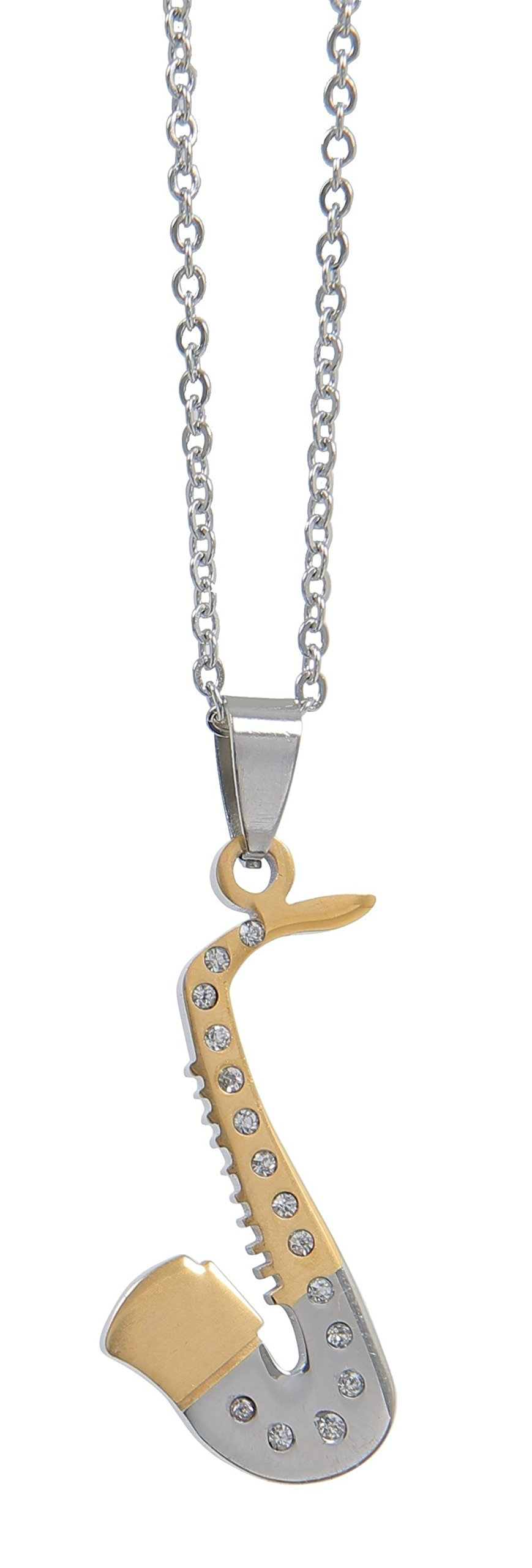 GEWA–Sassofono–Ciondolo unisex in acciaio inox con collana in acciaio inox–980282