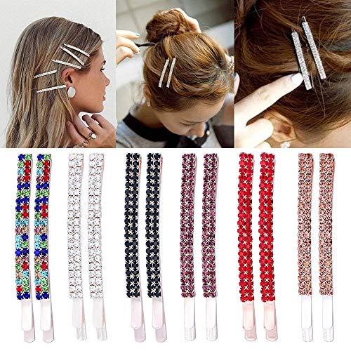 12 Stück Strass Bobby Nadeln Kristall Haarklammern Haarnadeln Metall Haarspangen Dekoration für Frauen Mädchen