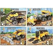 Spielzeug & Modellbau (Posten) 1 x Bausteine Baustein Bausatz 4 Fahrzeuge Baustellen Set Baufahrzeuge Bagger Großhandel & Sonderposten