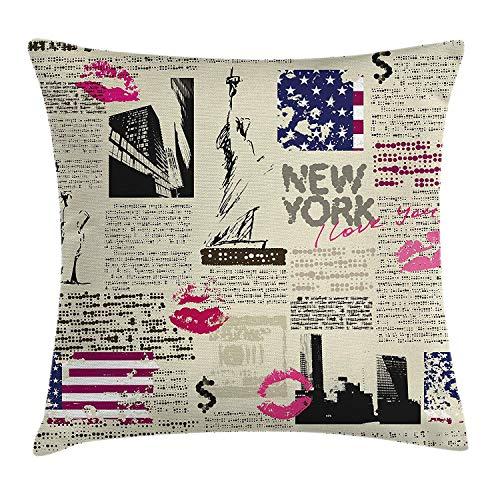 tyui7 USA Dekokissen Kissenbezug, Zeitung New York mit Sketchy Freiheitsstatue und Texten Lipstick Vintage, Dekor-Akzent-Kissenbezug, 45 x 45 cm, Multicolor (Mit Akzent Dekor)