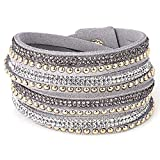 Best Bling Jewelry Mens Bracelets - HITSAN INCORPORATION Double Wrap Leather Pave Crystal Bling Review