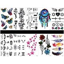 10 piezas de tatuajes de plumas de tatuaje, impermeables y no tóxicos, tatuajes falsos