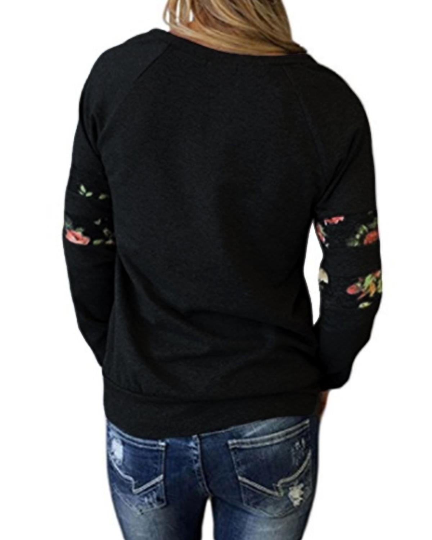 StyleDome Mujer Sudadera Elegante Otoño Camisetas De Manga Larga Blusas Tops flowers Impresa