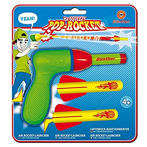 McSqueezy Pop Rocket Raketenwerfer mit 2 Geschossen 12x15cm Luftpistole Schaumstoff Bälle Kinderpistole