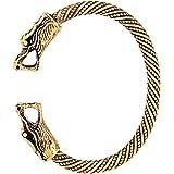 My Shape, bracciale intrecciato con doppia testa di drago stile nordico e vichingo, bracciale rigido regolabile da uomo