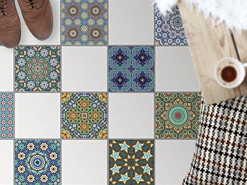 Bad-Bodenfolie, Küchenfliesen | Bodenfliesen Sticker Aufkleber Folie Bad Küche ergänzend zu Kühlschrankmagnet Baddeko | 30x30 cm Muster Ornament Orientalisches Mosaik - 9 Stück