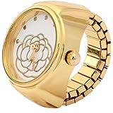 Orologio ad anello con quadrante rotondo, orologio al quarzo, orologio ad anello in oro rosa con fiore rosa, per la maggior p