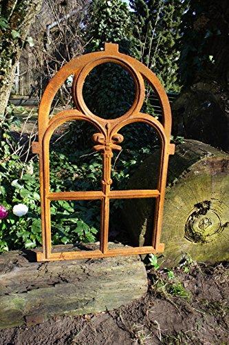 Stallfenster aus Gusseisen in Antik Optik | 72,5 x 45,5 cm| Eisenfenster für Gartenmauer (rostig), rustikaler Look, Kirchenfenster von Antikas