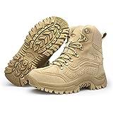 Bititger - Stivali da uomo, in pelle, stile militare, impermeabili, con cerniera, tattici, per ambienti esterni, per forze de