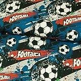 Stoffe Werning Baumwolljersey Football jeansblau Sport Kleckse Fußball Kinderstoffe Öko-Tex - Preis gilt für 0,5 Meter
