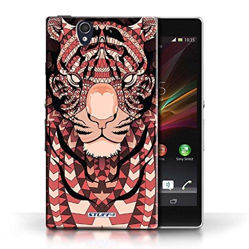Etui / Coque pour Sony Xperia Z / Singe-Mono conception / Collection de Motif Animaux Aztec Tigre-Rouge