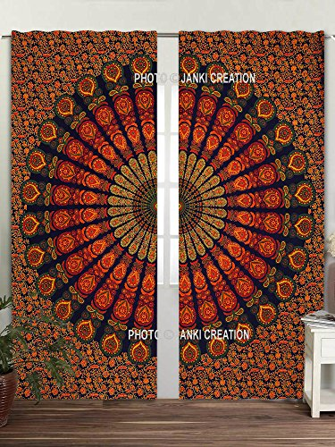 Set, Tapisserie Boho dekorativen Gardinen Fenster Vorhang Fenster Behandlung Set groß Full-Fenster eleganten curtians, Mandala Gardinen heraklithplatten Paar 82Länge Set von 2 (Tür Curtian)