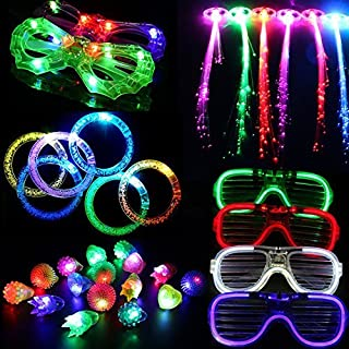 Acmee 30 Pieces LED Light Up Party Favor Toy Set.LED Party Pack LED Accessories - 6 Flashing Bumpy Rings,6 Finger Lights, 6 RGB Bubble Bracelets,6 LED Glasses and 6 LED Fiber Optic Hair Extensions