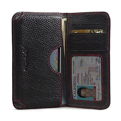 PDAir Acer Liquid Z320 Leder Brieftasche Folio Handy Hülle (Schwarzes Kieselleder/roter Stich), Echtleder Brieftasche Hülle, Kreditkarte Brieftasche Hülle für Acer Liquid Z320