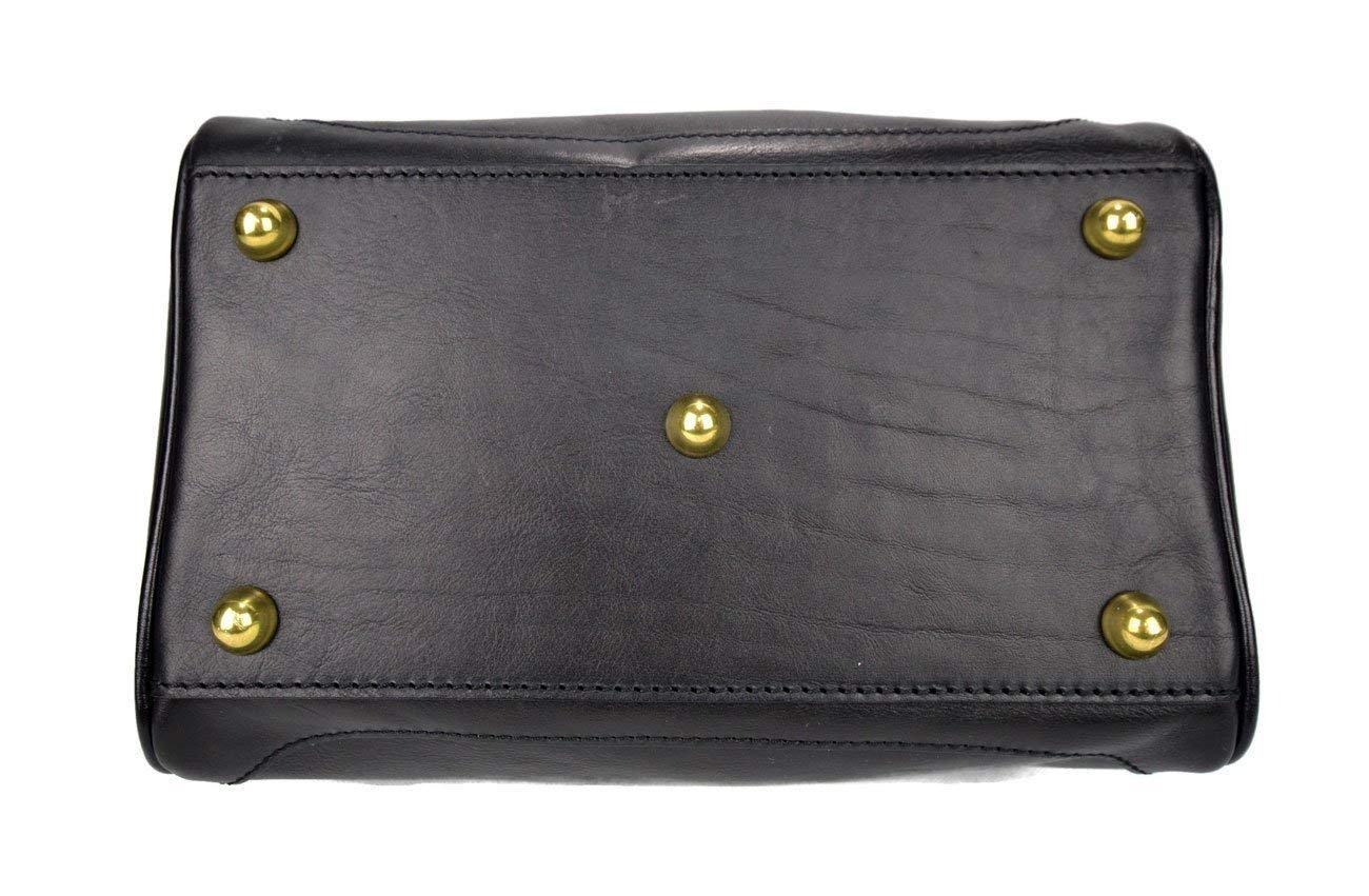 Ladies leather handbag doctor bag handheld shoulder bag medical purse black made in Italy - handmade-bags