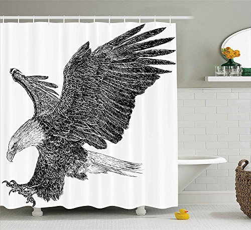 JIEKEIO Animal Shower Curtain, Bald Eagle Swoop Hand Drawn Sketchy Figure Flying Hunter Wildness Artwork, Fabric Bathroom Decor Set with Hooks, 60 * 72inchs Long, Black Light Grey - Bald Eagle Artwork
