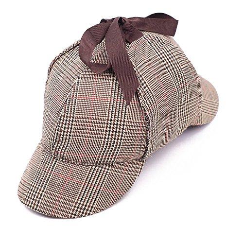EINSKEY Sherlock Holmes Mütze Kinder Erwachsene Spiel Cosplay Detective Deerstalker Hut für Halloween, Martinstag, ()