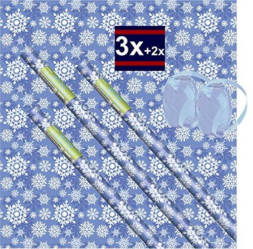 Kids Party World 3 Rollen blaues Schneeflocken Geschenkpapier + 2 Eiknäuel Geschenkband