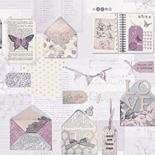 Arthouse PS I Love You Letter Pattern Heart Butterfly Motif Wallpaper (Lilac 671201)