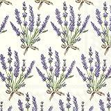 Cremefarbene Papierservietten mit Lavendeldesign, 20Stück 3-lagig., 33 x 33 cm